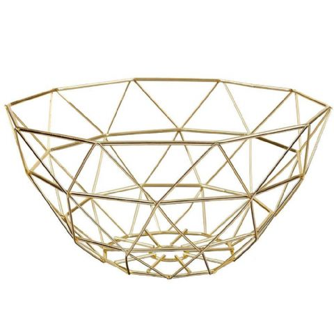 Geometric Wire Fruit Basket Gold
